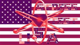 Le symbole nucléaire des Etats-Unis de test de tension marque avec des lettres des collages illustration de vecteur