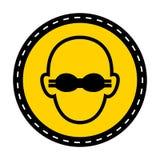 Le symbole portent la protection oculaire opaque pour se connecter le fond blanc illustration libre de droits