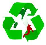 Le symbole réutilisent avec des couleurs italiennes de drapeau de cartes images stock