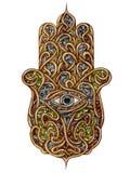 Le symbole religieux antique d'anchois des bouddhistes de juifs de musulmans de chrétiens assure la protection contre les effets  Image libre de droits