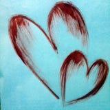 Le symbole rouge de coeur de fond abstrait d'aquarelle de l'amour lumineux sèchent papier peint de main de décoration de texture  Photographie stock