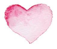 Le symbole rouge de coeur peint par aquarelle pour votre conception a isolé l'ove Images libres de droits