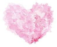 Le symbole rouge de coeur peint par aquarelle pour votre conception a isolé l'ove Photographie stock libre de droits