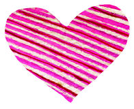 Le symbole rouge de coeur peint par aquarelle pour votre conception a isolé l'ove Photo stock