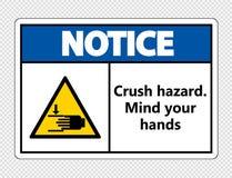 le symbop notent le risque d'écrasement Occupez-vous de vos mains se connectent le fond transparent illustration libre de droits