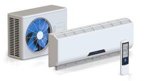 Le système de climatiseur a placé avec l'unité à télécommande et externe 3D rendent, d'isolement sur le fond blanc Images stock