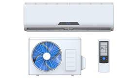 Le système de climatiseur a placé avec l'unité à télécommande et externe 3D rendent, d'isolement sur le fond blanc Image libre de droits