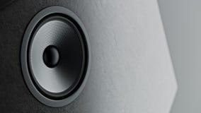 Le système de haut-parleurs de Kevlar de multimédia avec le plan rapproché différent de haut-parleurs au-dessus du fond noir 3d r Photographie stock