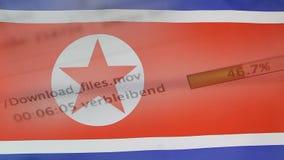 Le téléchargement introduit sur un ordinateur, drapeau de la Corée du Nord clips vidéos