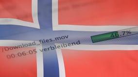 Le téléchargement introduit sur un ordinateur, drapeau de la Norvège banque de vidéos