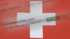 Le téléchargement introduit sur un ordinateur, drapeau de la Suisse banque de vidéos
