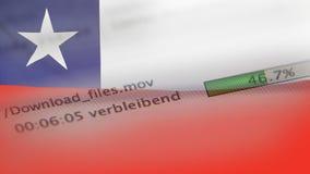 Le téléchargement introduit sur un ordinateur, drapeau du Chili banque de vidéos