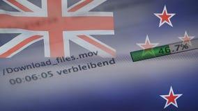 Le téléchargement introduit sur un ordinateur, drapeau du Nouvelle-Zélande banque de vidéos