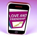 Le téléphone d'amour et d'amitié représente des clés et le conseil pour des amis illustration de vecteur