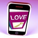 Le téléphone d'amour montre la clé aux sentiments affectueux illustration stock