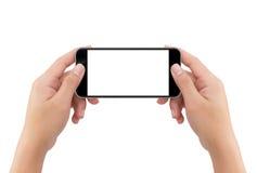 Le téléphone de participation de main a isolé le fond blanc avec c photographie stock libre de droits