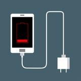 Le téléphone est bas chargeur Image stock