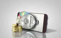 le téléphone portable mobile de concept d'opérations bancaires avec le dollar d'argent empile le coi illustration stock