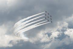 Le T1 de faucon voyage en jet sur le salon de l'aéronautique Image libre de droits