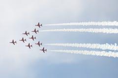 Le T1 de faucon voyage en jet sur le salon de l'aéronautique Images libres de droits