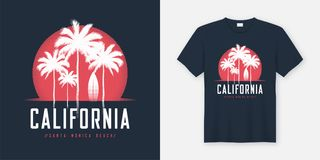 Le T-shirt et l'habillement de la Californie Santa Monica Beach conçoivent, typogr illustration libre de droits