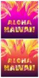 Le T-shirt imprime la variation par rapport au lettrage d'Aloha Hawaii avec les palmettes jaunes, oranges et roses sur le fond fo image stock