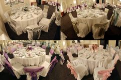 Le Tabelle in una sala da ballo di nozze, multicam, schermo hanno spaccato in quattro parti, griglia 2x2 Fotografia Stock