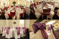 Le Tabelle in una sala da ballo di nozze, multicam, schermo hanno spaccato in quattro parti, griglia 2x2 Fotografie Stock Libere da Diritti