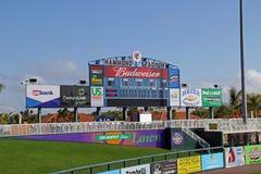 Le tableau indicateur chez Hammond Stadium Photos libres de droits