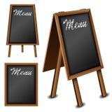 Tableau noir en bois réglé pour le menu de restaurant illustration stock