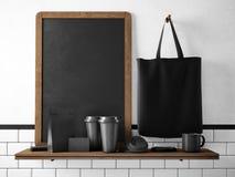 Le tableau noir sur l'étagère avec l'ensemble de marquage à chaud objecte rendu 3d Photo libre de droits