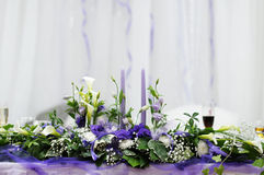 Le Tableau a placé pour une réception de mariage Photo stock