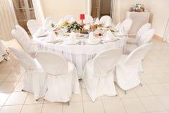 Le Tableau a placé pour une réception de réception ou de mariage d'événement Photographie stock