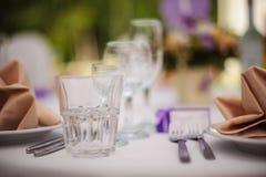 Le Tableau a placé pour une réception ou un mariage d'événement Photos stock