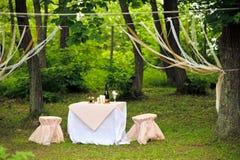 Le Tableau s'est étendu pour les jeunes mariés dans la forêt Photo stock