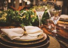 Le Tableau a servi au dîner de Noël, fin vers le haut de vue Image stock