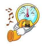 Le tachymètre de trompette étant isolé avec dans la mascotte illustration stock