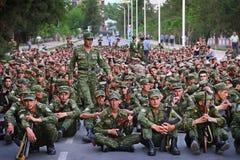 Le Tadjikistan : Défilé militaire à Dushanbe Image stock