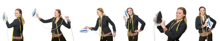 Le tailleur de femme d'isolement sur le blanc Photographie stock libre de droits