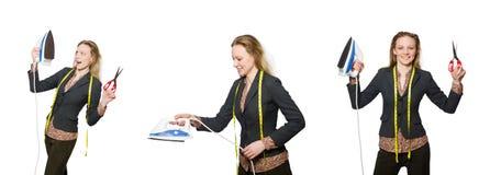 Le tailleur de femme d'isolement sur le blanc Image stock