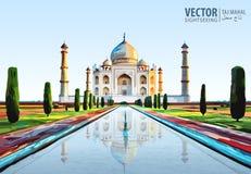 Le Taj Mahal mausolée de marbre blanc sur la rive sud de la rivière de Yamuna dans la ville indienne d'Âgrâ, uttar pradesh illustration stock