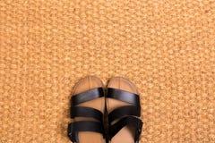 Le tapis de nettoyage de pied avec des sandales accueillent à la maison photos stock