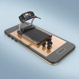 Le tapis roulant et la forme physique exercent des poids d'haltère d'équipement sur l'écran du smartphone, sports numériques form illustration de vecteur