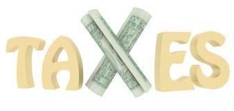 Le tasse pagano i dollari del testo - rappresentazione 3d fotografia stock libera da diritti