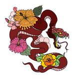 Le tatouage et l'illustration de serpent conçoivent avec la branche de Sakura illustration libre de droits