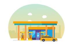 Le taxi est rempli de combustible à la station service, machine pour transporter des personnes illustration de vecteur