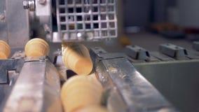 Le tazze della cialda stanno ottenendo hanno rimosso dal nastro trasportatore alla condotta del metallo stock footage