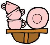 Le tazze ed i piatti rosa su uno scaffale vector il disegno royalty illustrazione gratis