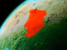 Le Tchad de l'espace dans la soirée illustration de vecteur