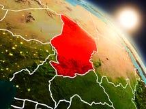 Le Tchad de l'espace pendant le lever de soleil illustration stock